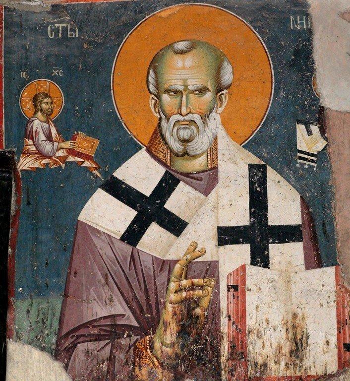 Святитель Николай, Архиепископ Мир Ликийских, Чудотворец. Фреска церкви Святых Апостолов в Пече, Косово, Сербия. Около 1300 года.