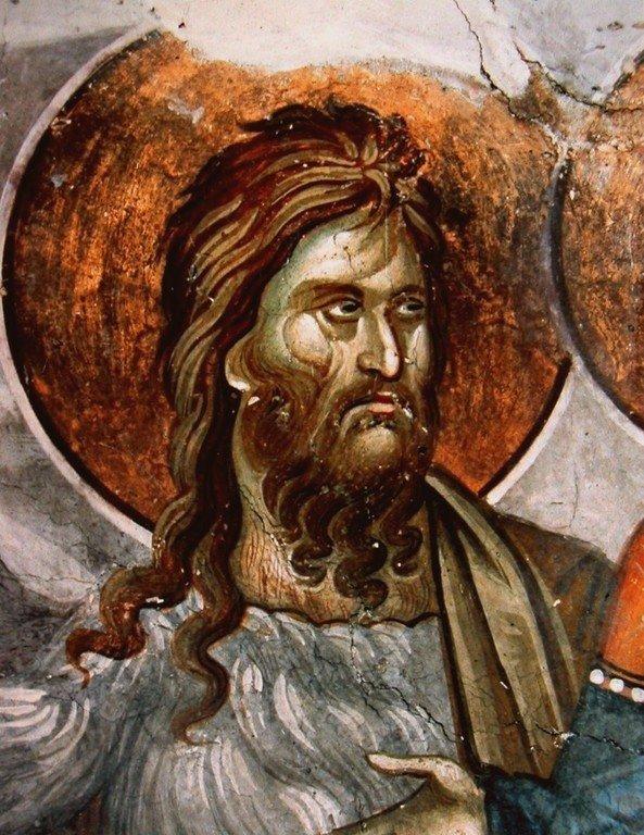 Святой Иоанн Предтеча. Фрагмент фрески монастыря Грачаница, Косово, Сербия. Около 1320 года.