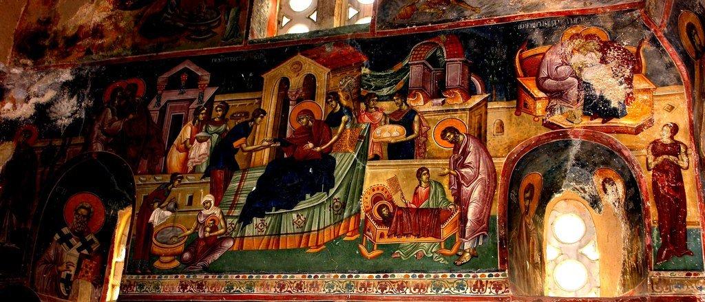 Рождество Пресвятой Богородицы. Фреска церкви Святых Иоакима и Анны (Королевской церкви) в монастыре Студеница, Сербия. 1314 год.