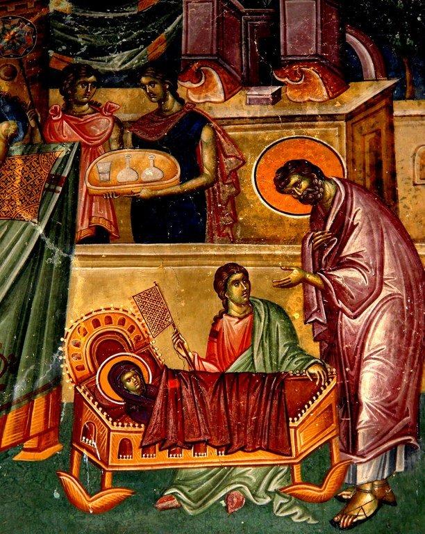 Рождество Пресвятой Богородицы. Фреска церкви Святых Иоакима и Анны (Королевской церкви) в монастыре Студеница, Сербия. 1314 год. Фрагмент.