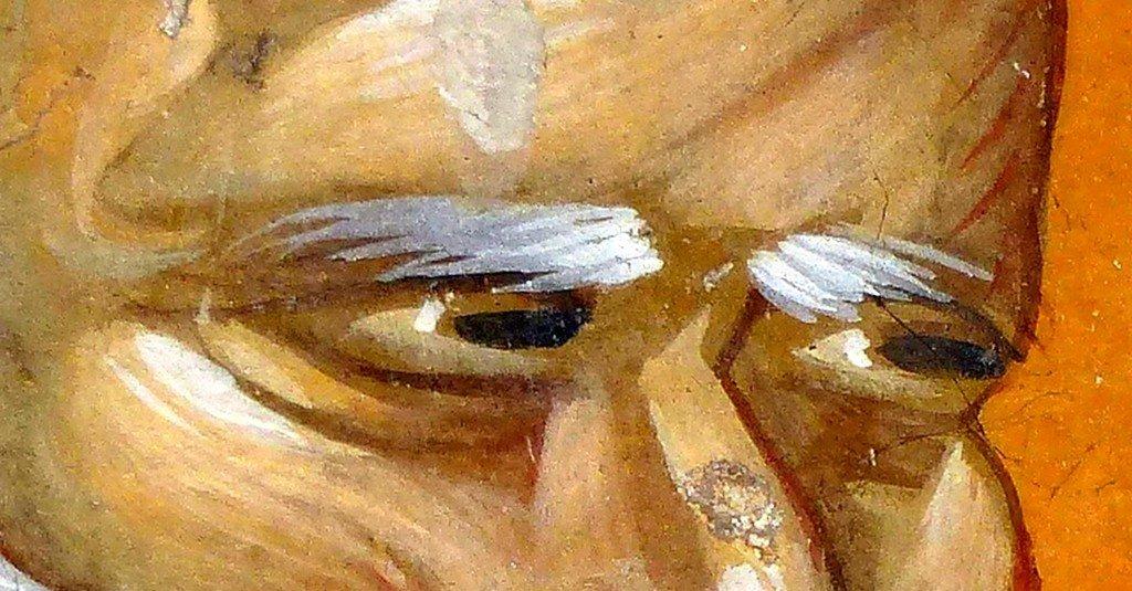 Святой Преподобный Пимен Великий. Фреска церкви Святого Георгия в Старо Нагоричино, Македония. 1316 - 1318 годы. Иконописцы Михаил Астрапа и Евтихий. Фрагмент.