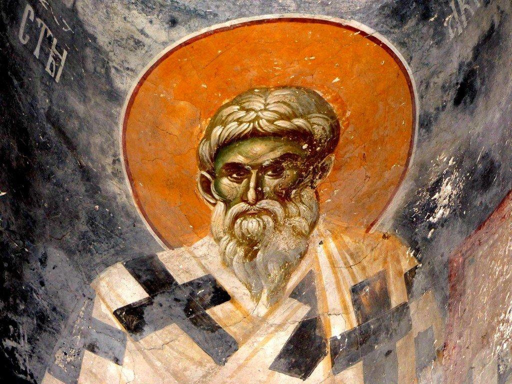 Святой Равноапостольный Аверкий, Епископ Иерапольский, Чудотворец. Фреска церкви Святых Иоакима и Анны (Королевской церкви) в монастыре Студеница, Сербия. 1314 год.