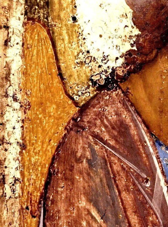 Пресвятая Троица. Икона Преподобного Андрея Рублёва. Около 1409 - 1412 годов. Фрагмент.
