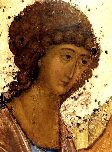 ПРЕСВЯТАЯ ТРОИЦА. Икона Преподобного Андрея Рублёва. Около 1409 - 1412 годов.