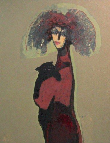 Владимир Васильевич Рябчиков. Дама с чёрным котом. 2003 год.
