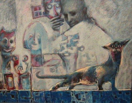 Владимир Васильевич Рябчиков. Кот и маски. 2003 год.
