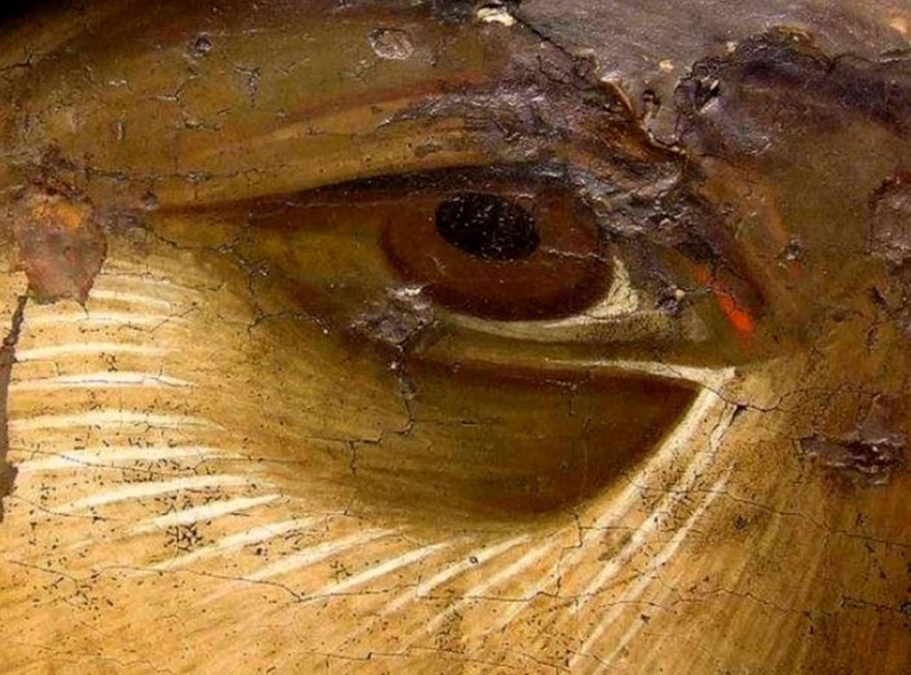 Чудотворная Нямецкая икона Божией Матери. Византия, XIV век. Монастырь Нямц, Румыния. Фрагмент.