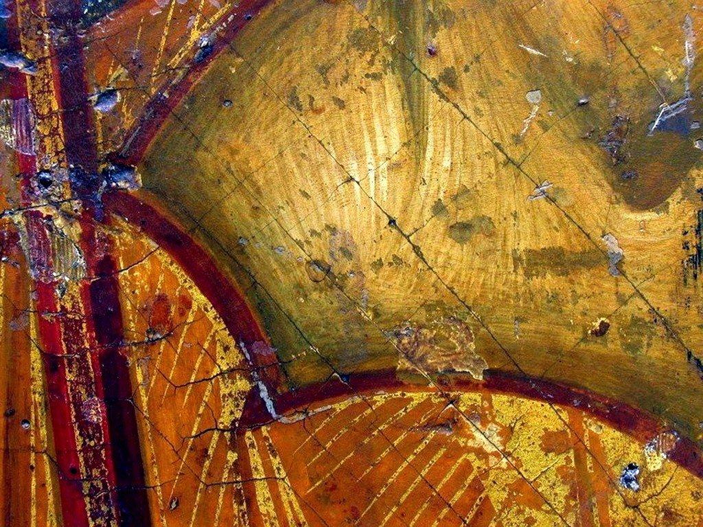 Архангел Михаил. Икона. Византия, XIV век. Византийский музей в Афинах. Фрагмент.