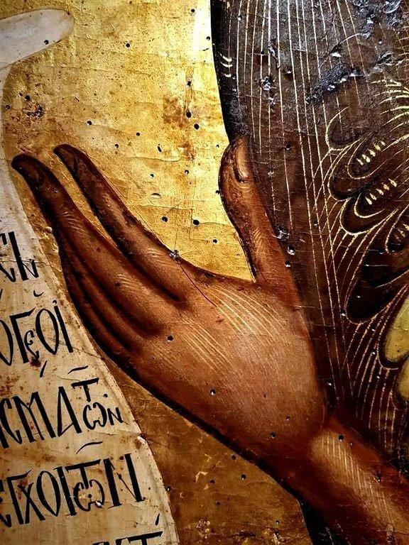Святой Иоанн Предтеча Ангел пустыни. Греческая икона XVII века. Музей Антивуниотисса, Керкира. Фрагмент.