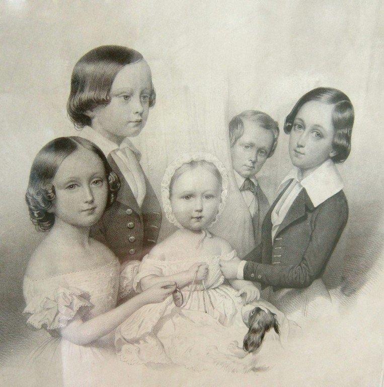 А.-Л.-Ноэль с акварельного оригинала Э. Росси. Портрет детей из семьи графа Н. Д. Зубова. 1841 год.