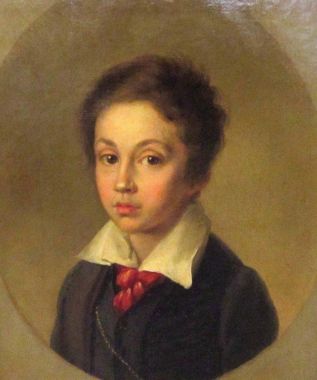 Неизвестный художник. Западная Европа. Портрет мальчика с красным галстуком. Вторая четверть 19 века.