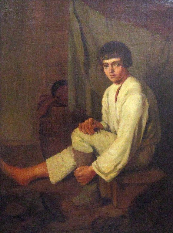 Неизвестный художник с оригинала К. А. Зеленцова. Мальчик, надевающий лапти. 1820-е годы.