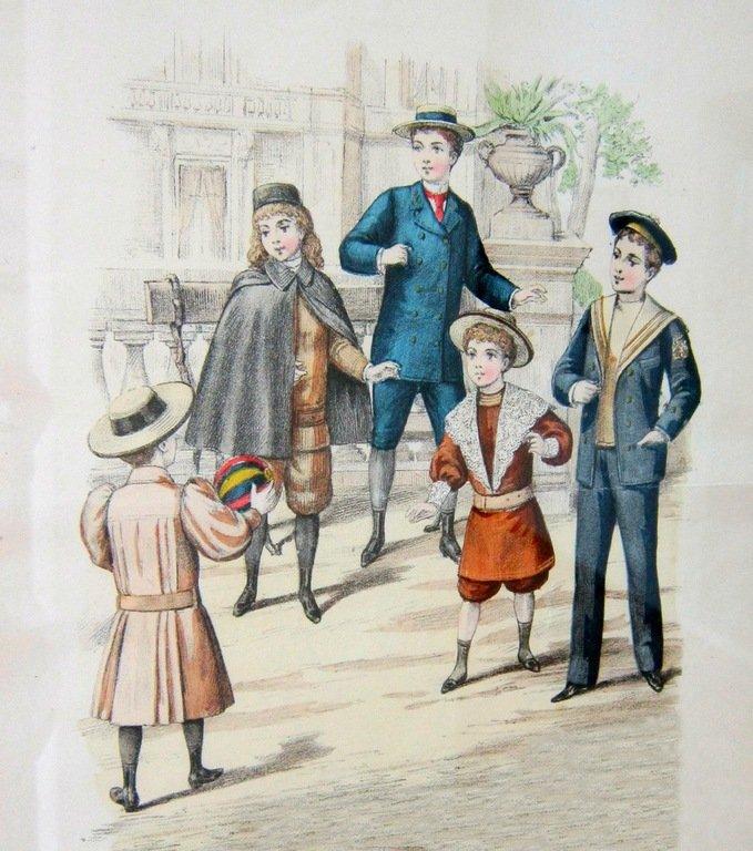 """Детская мода. 1894 год. Лист из издания """"Journal des Demoiselles et Petit Courrier des Dames Réunis"""". Литография, акварель."""