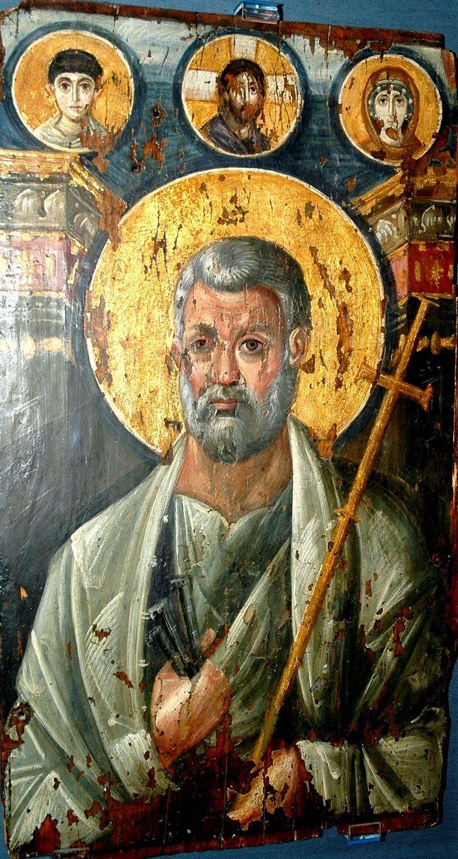 Святой Апостол Пётр. Византийская икона VI века. Монастырь Святой Екатерины на Синае.