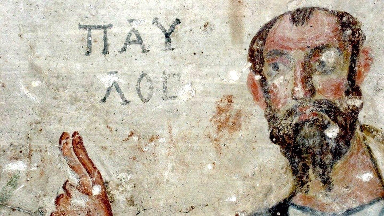 Святой Апостол Павел. Фреска пещеры Святых Павла и Феклы в Маалуле, Сирия. VI век.