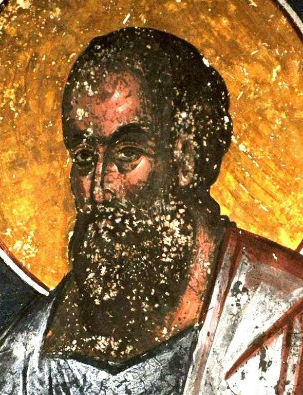 Святой Апостол Павел. Фреска церкви Святого Георгия в монастыре Гелати, Грузия. XVI век.