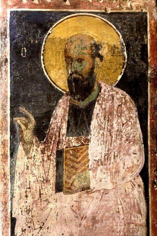 Святой Апостол Павел. Византийская фреска в церкви Святого Георгия в Оморфокклисии, Греция.
