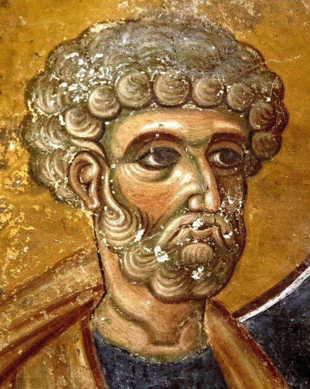 Святой Апостол Пётр. Византийская фреска в церкви Святого Георгия в Оморфокклисии, Греция.