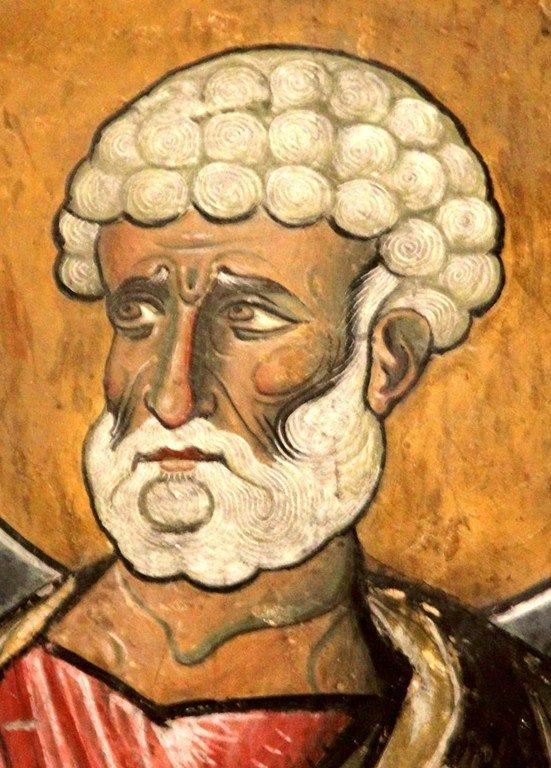 Святой Апостол Пётр. Фреска церкви Панагии Аракиотиссы в деревне Лагудера на Кипре. 1192 год.