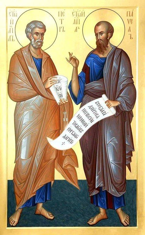 Святые Первоверховные Апостолы Пётр и Павел. Современная икона.
