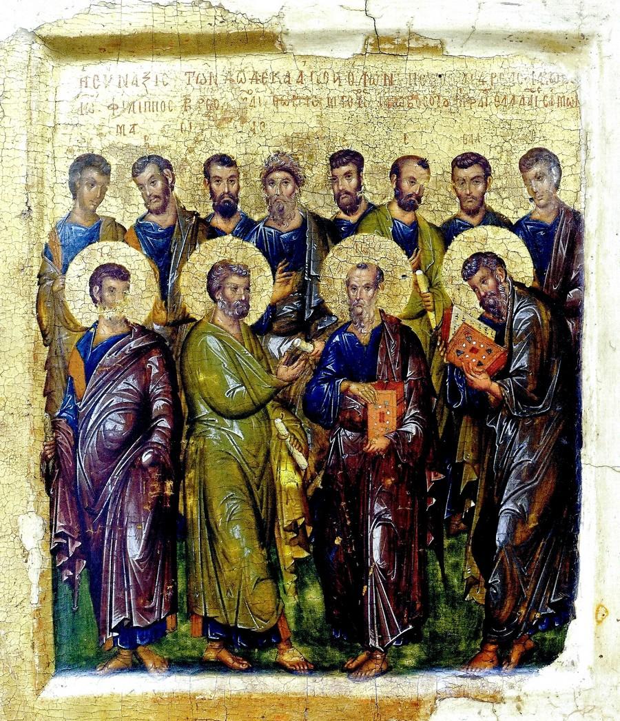 Собор славных и всехвальных Двенадцати Апостолов. Византийская икона начала XIV века. ГМИИ.