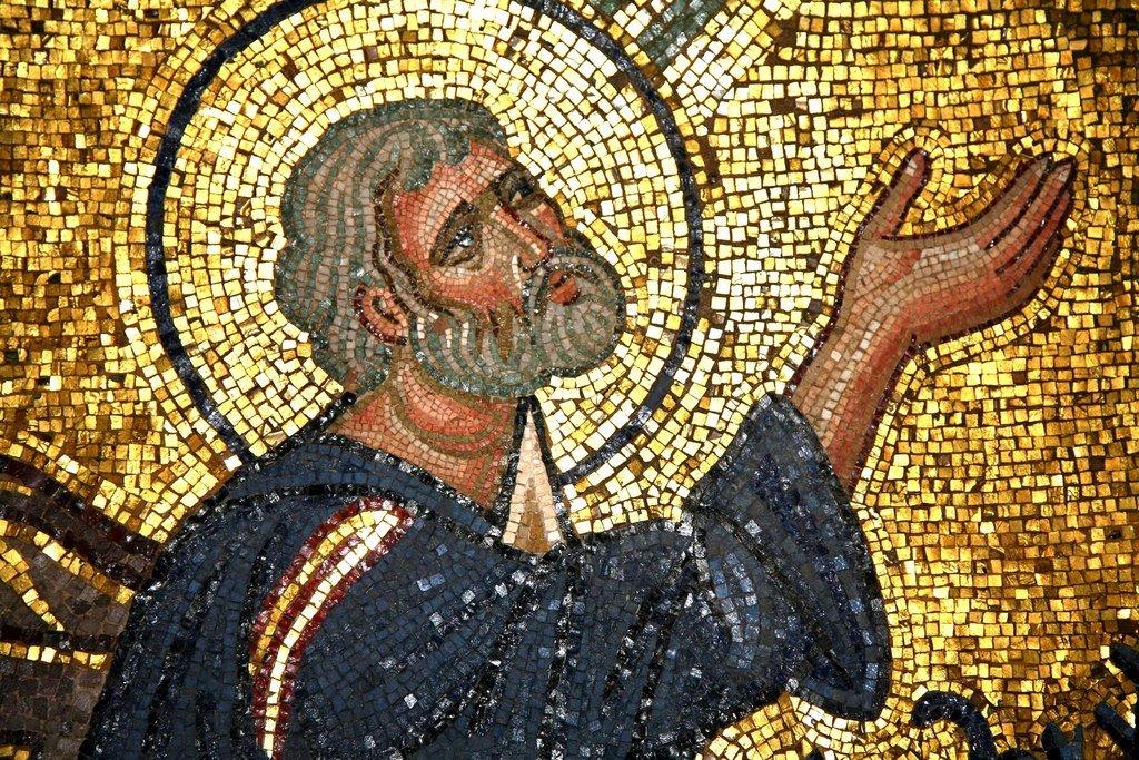 Преображение Господне. Мозаика монастыря Дафни близ Афин. Вторая половина XI века. Фрагмент. Святой Апостол Пётр.