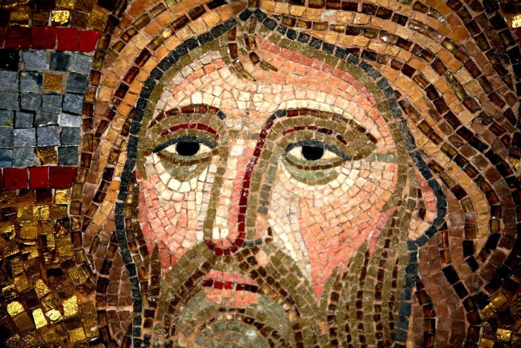 Преображение Господне. Мозаика монастыря Дафни близ Афин. Вторая половина XI века. Фрагмент. Лик Спасителя.
