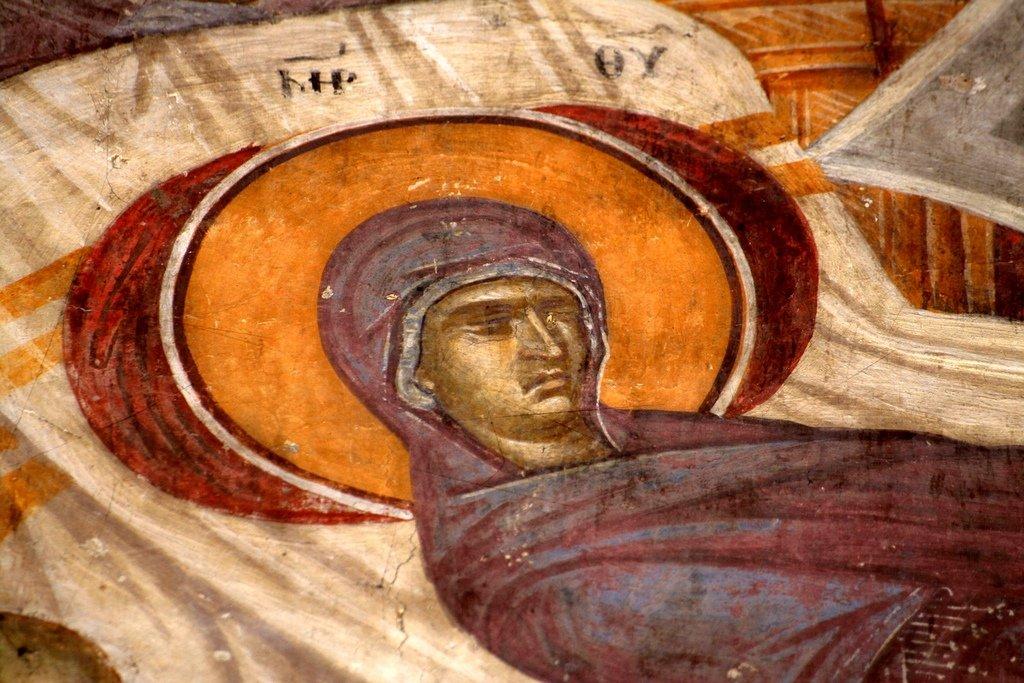 Успение Пресвятой Богородицы. Фреска монастыря Грачаница, Косово, Сербия. Около 1320 года. Фрагмент.