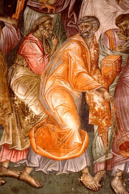 Успение Пресвятой Богородицы. Фреска монастыря Грачаница, Косово, Сербия. Около 1320 года. Фрагмент. Апостолы.