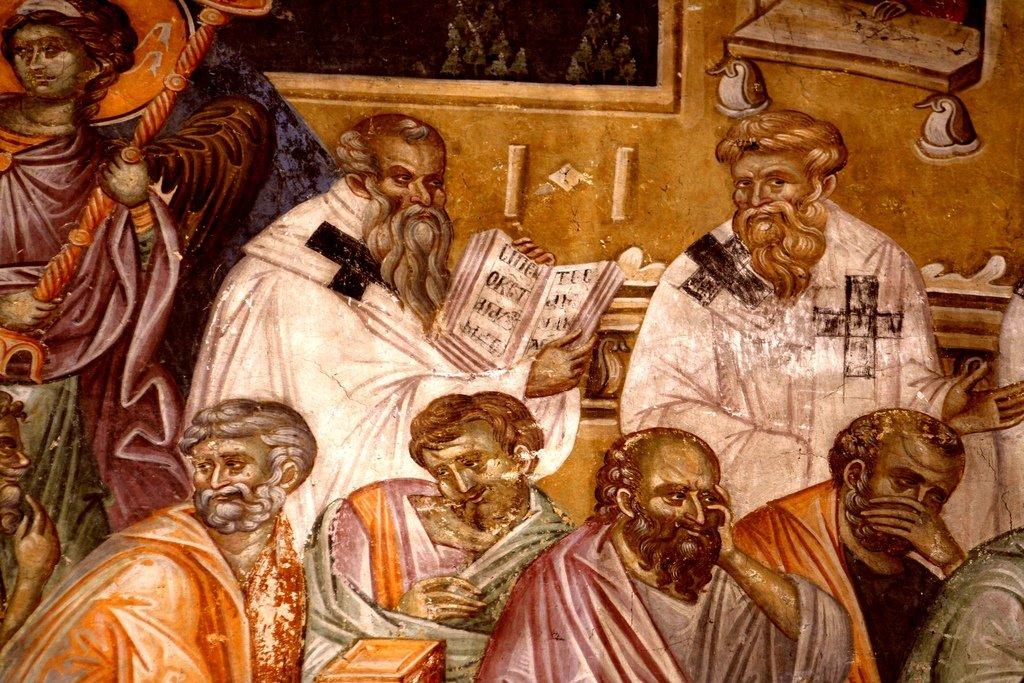 Успение Пресвятой Богородицы. Фреска монастыря Грачаница, Косово, Сербия. Около 1320 года. Фрагмент. Апостолы и Святители.