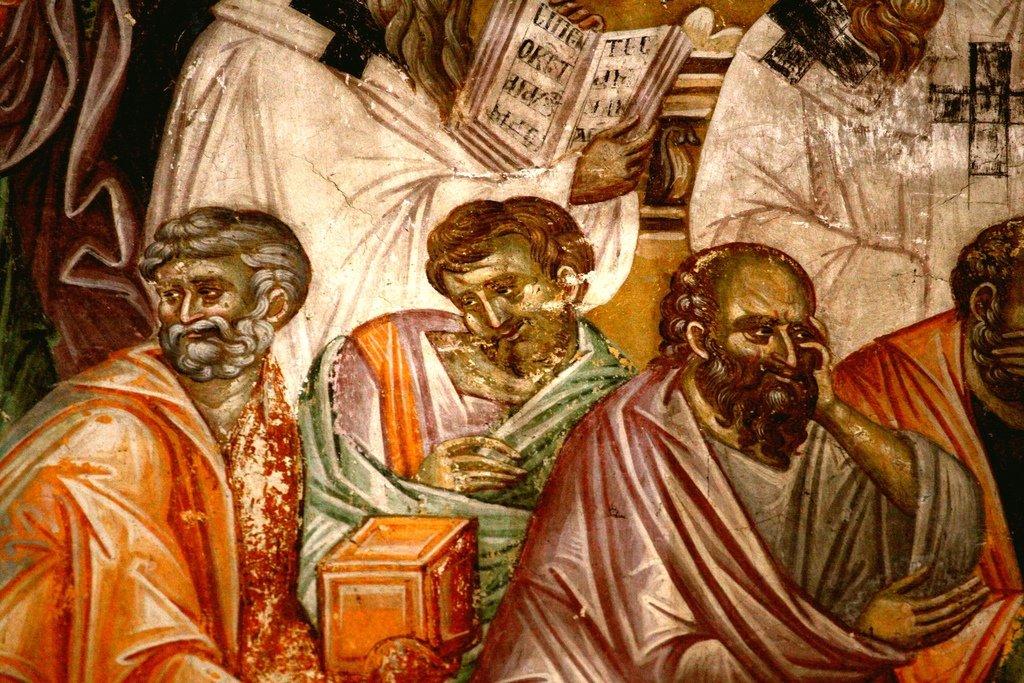 Успение Пресвятой Богородицы. Фреска монастыря Грачаница, Косово, Сербия. Около 1320 года. Фрагмент. Скорбящие Апостолы.