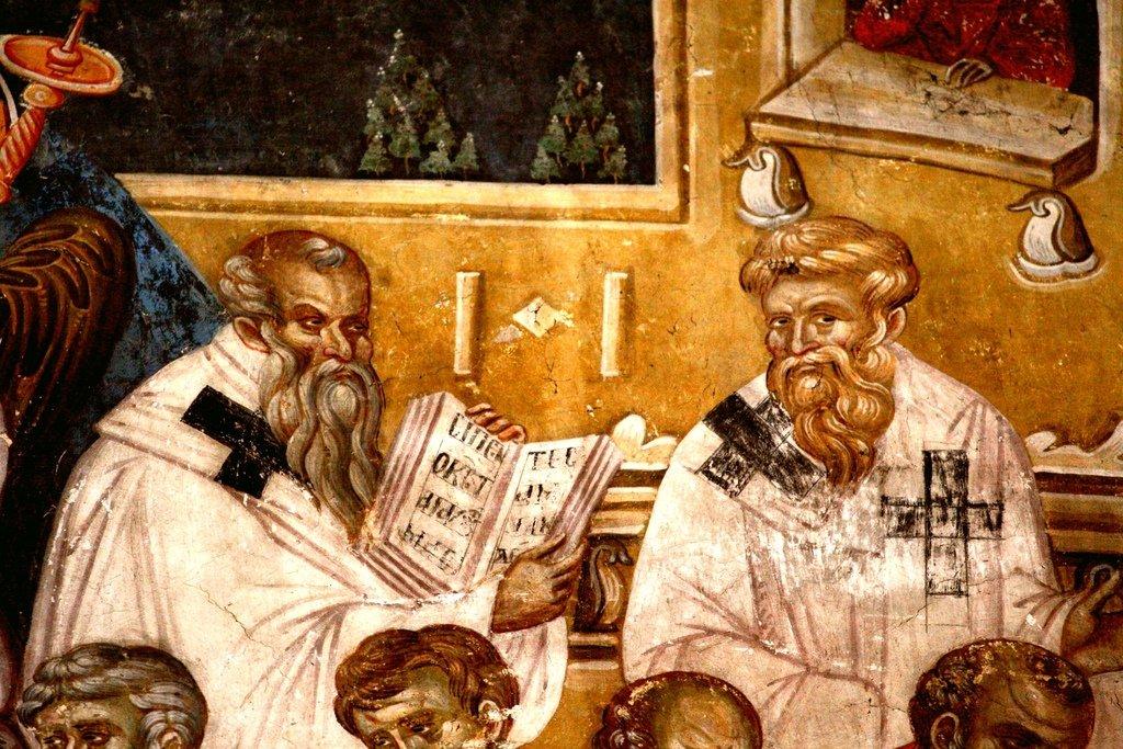 Успение Пресвятой Богородицы. Фреска монастыря Грачаница, Косово, Сербия. Около 1320 года. Фрагмент. Святители.