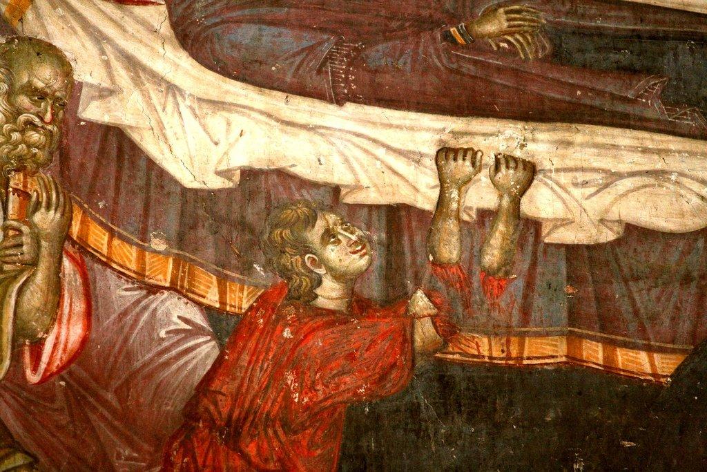 Успение Пресвятой Богородицы. Фреска монастыря Грачаница, Косово, Сербия. Около 1320 года. Фрагмент. Нечестивый Афоний с отсечёнными Ангелом руками.