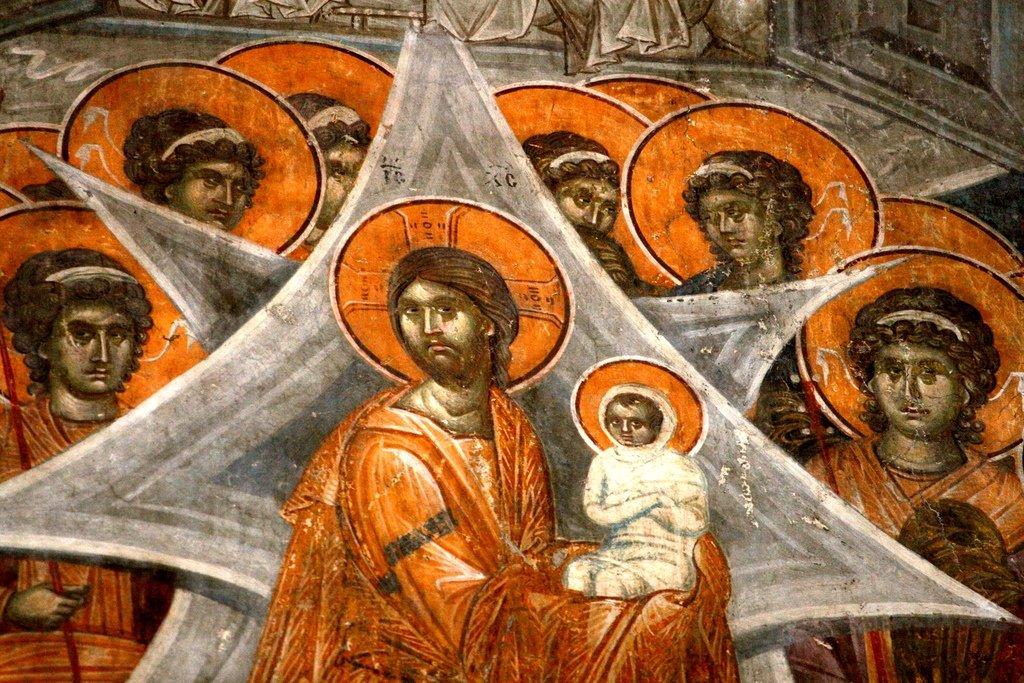 Успение Пресвятой Богородицы. Фреска монастыря Грачаница, Косово, Сербия. Около 1320 года. Фрагмент. Христос с душой Пресвятой Богородицы на руках.