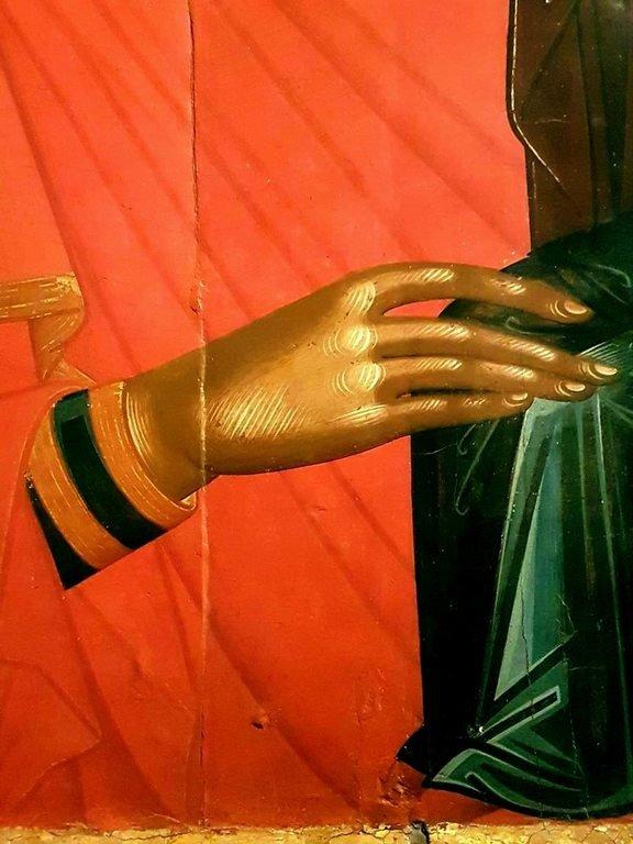 Святая Праведная Анна, матерь Пресвятой Богородицы. Икона. Крит, середина XV века. Музей Бенаки в Афинах. Фрагмент.