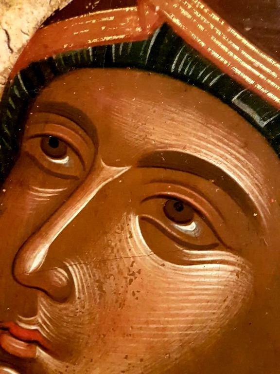Святая Праведная Анна, матерь Пресвятой Богородицы. Икона. Крит, середина XV века. Музей Бенаки в Афинах. Фрагмент. Лик Пресвятой Богородицы.