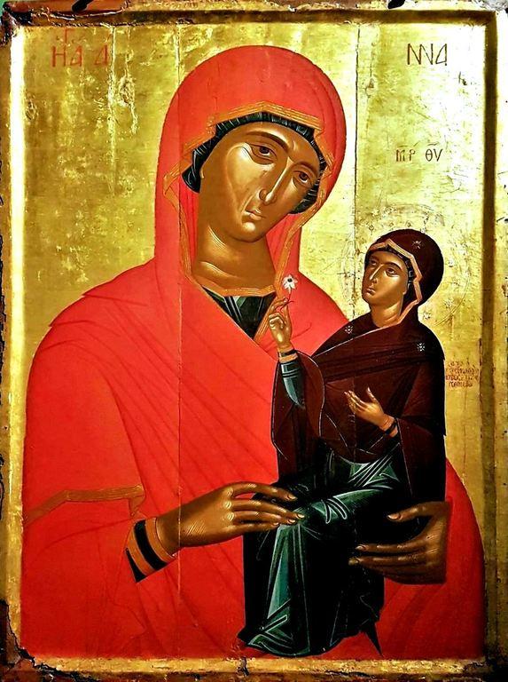Святая Праведная Анна, матерь Пресвятой Богородицы. Икона. Крит, середина XV века. Музей Бенаки в Афинах.