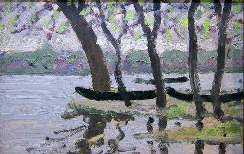 Тимофей Фёдорович Теряев (1919-2001 гг.). Деревья у воды. 1974 год.