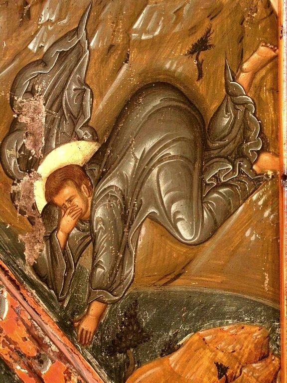 Преображение Господне. Кипрская икона первой половины XVI века. Фрагмент. Святой Апостол Иоанн Богослов.