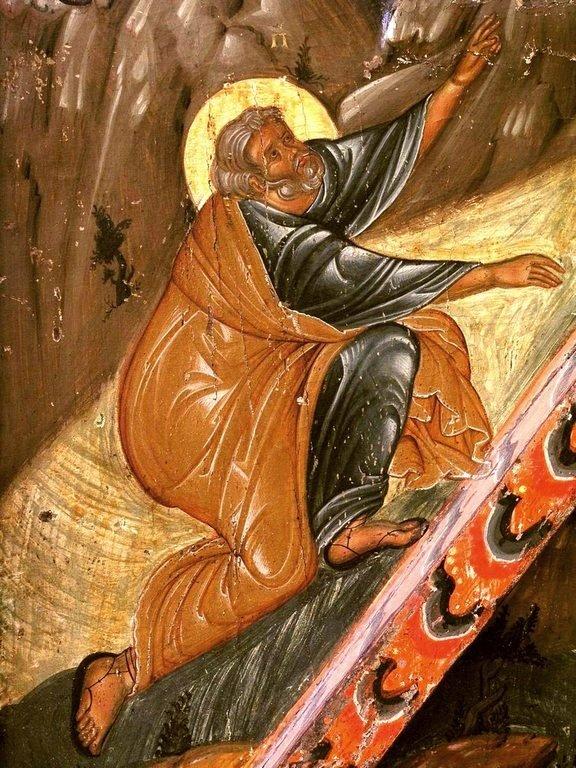 Преображение Господне. Кипрская икона первой половины XVI века. Фрагмент. Святой Апостол Пётр.