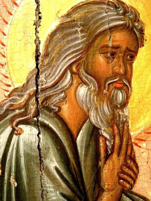Преображение Господне. Кипрская икона первой половины XVI века. Фрагмент. Святой Пророк Божий Илия.