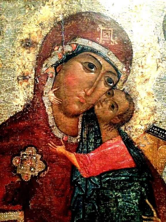 """Толгская икона Божией Матери (""""тронная""""). Около 1327 года. Фрагмент."""