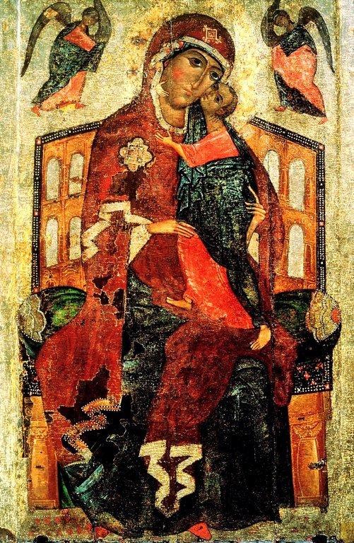"""Толгская икона Божией Матери (""""тронная""""). Около 1327 года."""