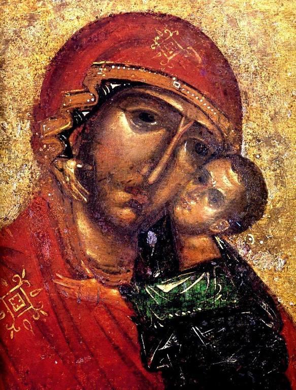 Чудотворная Толгская икона Божией Матери. Около 1314 года. Фрагмент.