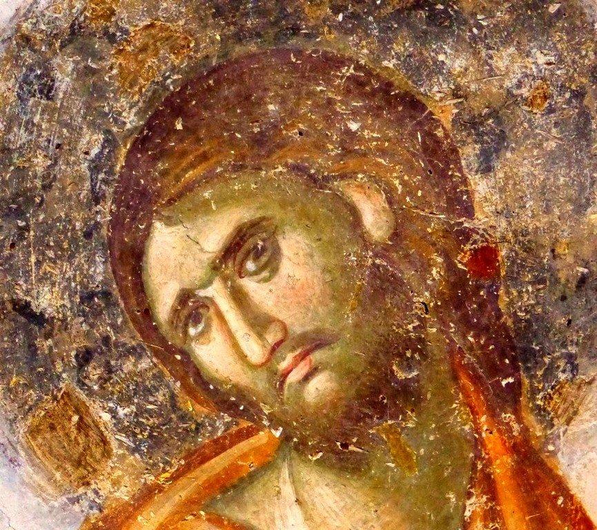 Успение Пресвятой Богородицы. Фреска церкви Святой Троицы в монастыре Сопочаны, Сербия. 1265 год. Фрагмент. Лик Спасителя.
