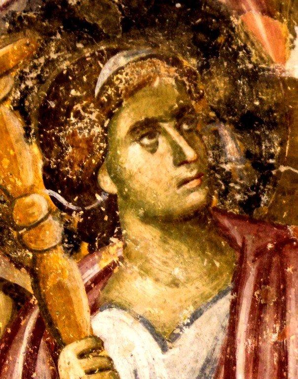 Успение Пресвятой Богородицы. Фреска церкви Святой Троицы в монастыре Сопочаны, Сербия. 1265 год. Фрагмент. Ангел Господень.