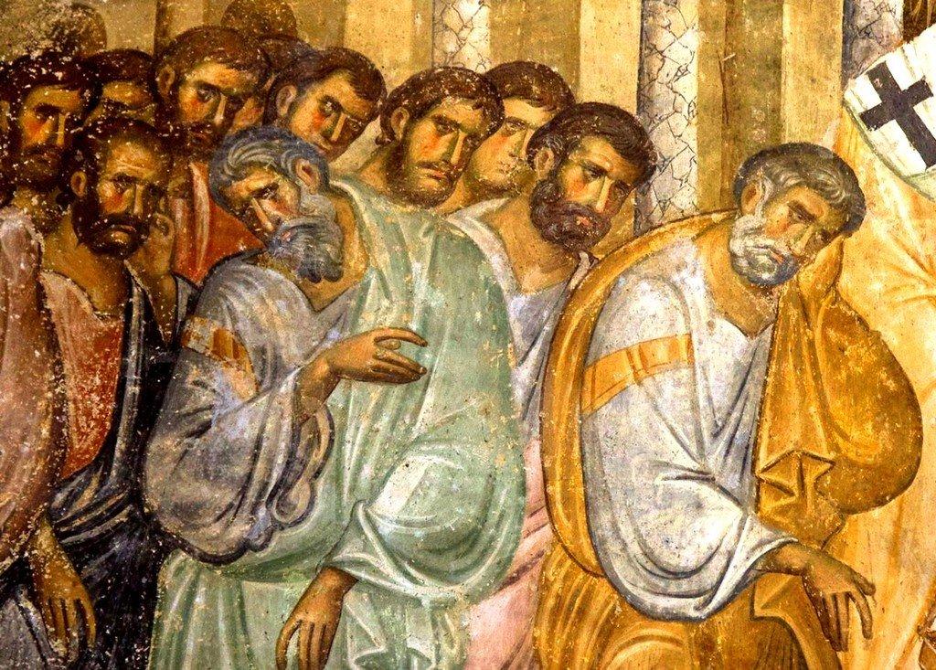 Успение Пресвятой Богородицы. Фреска церкви Святой Троицы в монастыре Сопочаны, Сербия. 1265 год. Фрагмент.