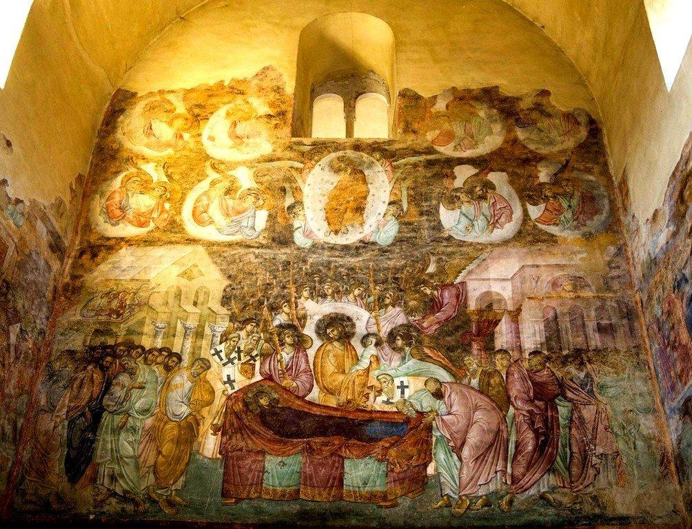 Успение Пресвятой Богородицы. Фреска церкви Святой Троицы в монастыре Сопочаны, Сербия. 1265 год.