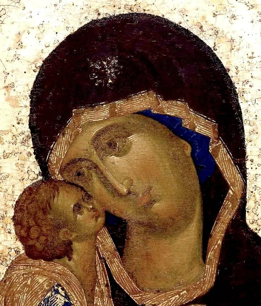 Чудотворная Донская икона Божией Матери. XIV век. Иконописец Феофан Грек. Фрагмент.