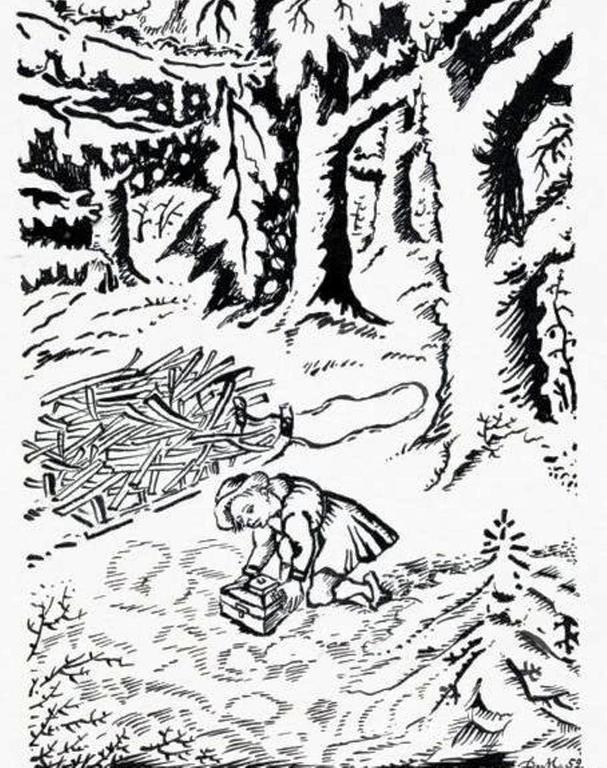 ИЛЛЮСТРАЦИЯ К СКАЗКЕ БРАТЬЕВ ГРИММ «ЗОЛОТОЙ КЛЮЧИК». Д. И. МИТРОХИН, 1952 Г..
